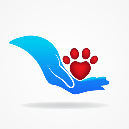 Hand and paw print of a pet icon logo vector Illustration
