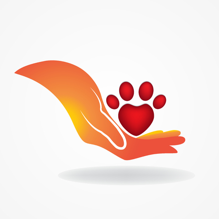 green heart: Hand with paw print pet icon logo vector Illustration