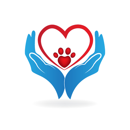 Hands with love heart paw print logo icon vector