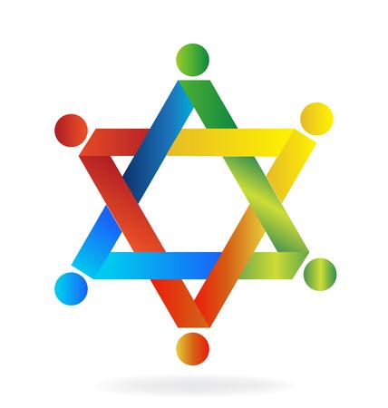 Teamwork colorful star shape logo vector image