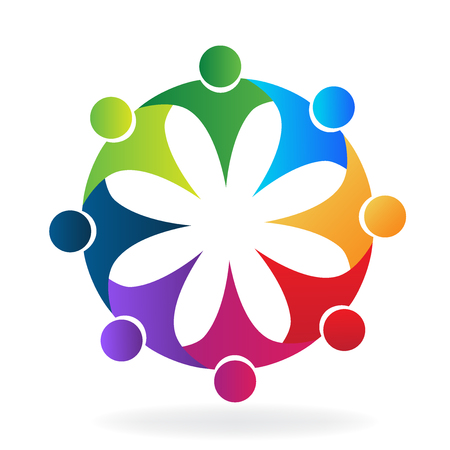 non profit: Teamwork rainbow flower business logo icon vector image