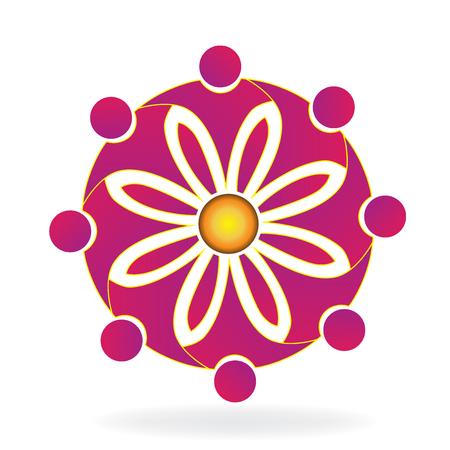 corporation: Teamwork pink flower shape logo vector