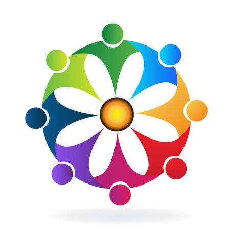 Teamwork hug flower people id card icon logo vector image