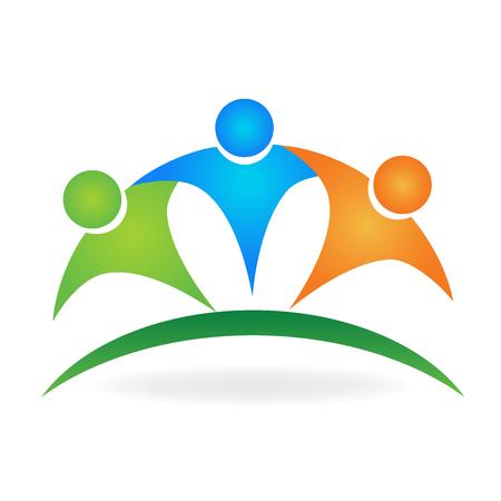 Happy team embraced logo vector image background Illustration