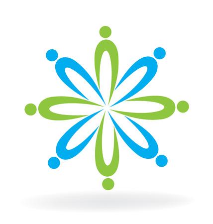 Teamwork people business icon logo vector Illustration