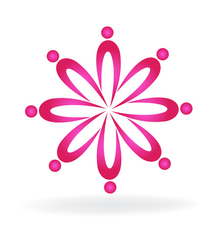 Teamwork pink business people icon logo vector