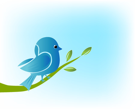 Blue bird on branch tree vintage vector background image picture Illustration