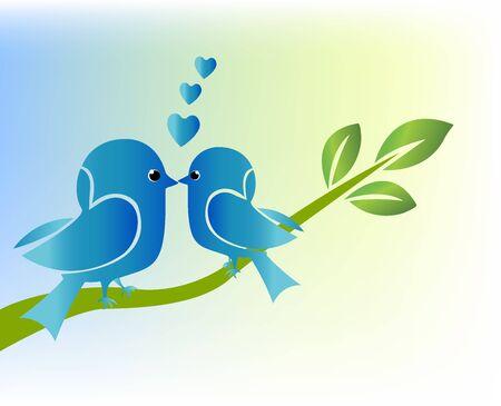 Love birds on branch tree image template. Illustration