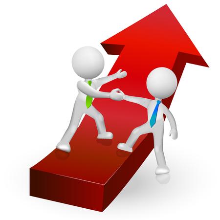ganancias: 3D personas subiendo al éxito en una flecha roja icono simbólico icono vector Vectores