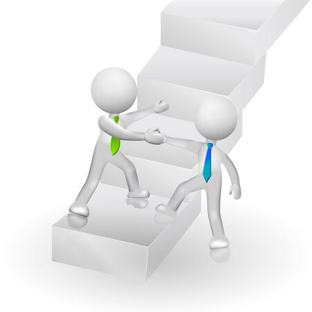 artwork: 3D people climbing stairs to success symbolic icon logo vector