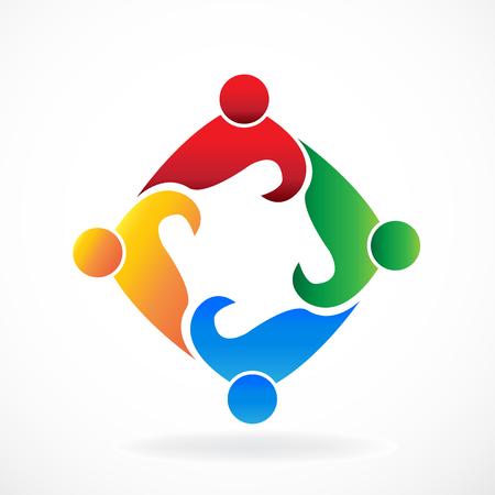 Teamwork people social media meeting icon logo vector