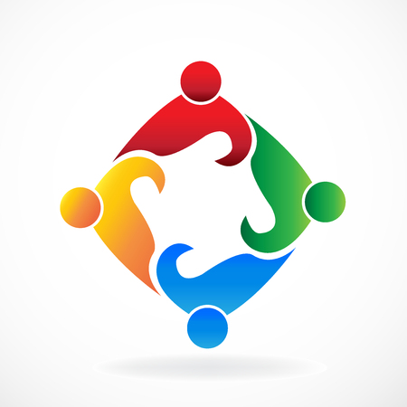 children silhouettes: Teamwork people social media meeting icon logo vector