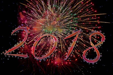 decoration: 2018 Happy new year with fireworks Stock Photo