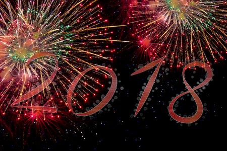 2018 Happy new year with fireworks Archivio Fotografico