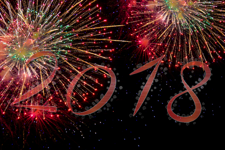 2018 Happy new year with fireworks Stock Photo