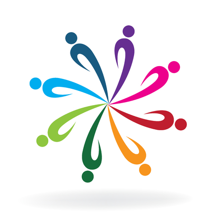 Teamwork people icon flower shape business meeting vector logo desig