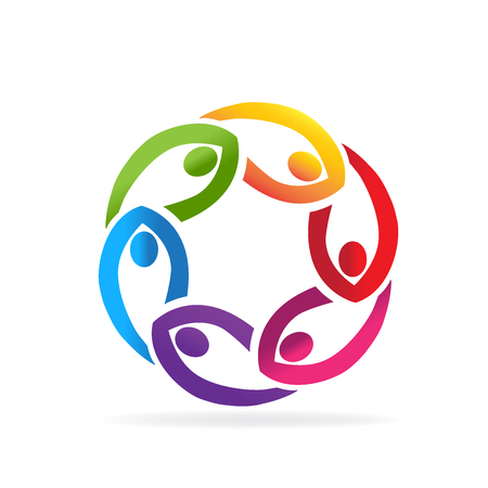 Teamwork business people in a circle shape icon vectorlogo Illustration
