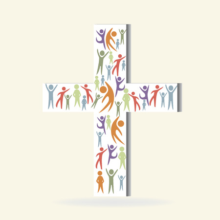 together voluntary: Crowded people on white cross artwork graphic icon vector image logo
