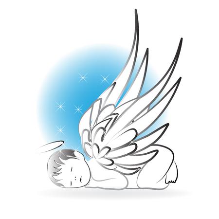Baby Angel sleeping logo art vector 向量圖像