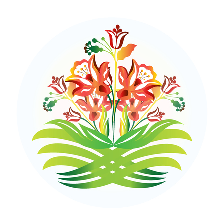 spiritual architecture: Flowers icon logo design vector
