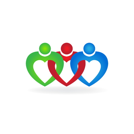Heart love teamwork unity people business card icon logo vector image Illustration