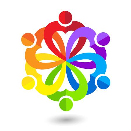 Amor del corazón trabajo en equipo unido personas icono de la tarjeta de visita icono de la imagen vectorial