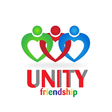 group fitness: Heart love teamwork unity friendship people business card icon logo vector image