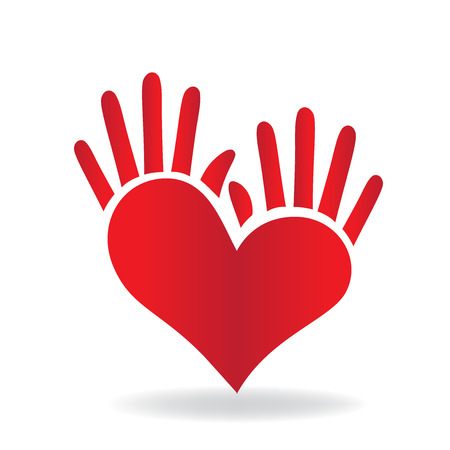 Heart and hand concept of helping and charity for sick people icon logo vector