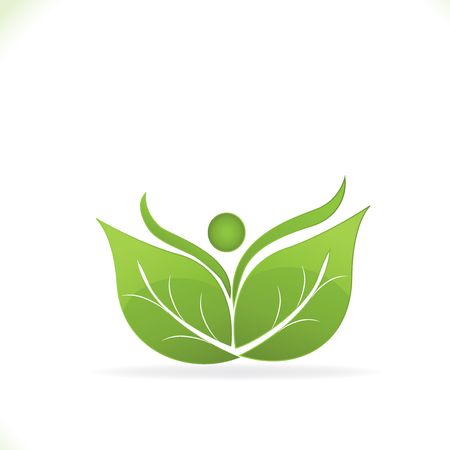 Healthy leafs and happy people icon logo vector illustration.