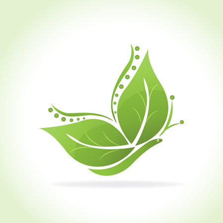 decoration: Green leafs butterfly shape icon logo vector image illustration. Illustration