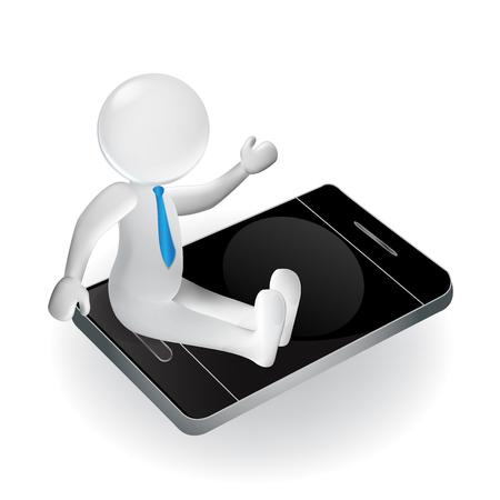 3d personnes blanches homme sur smartphone. Concept d'affaires icon logo