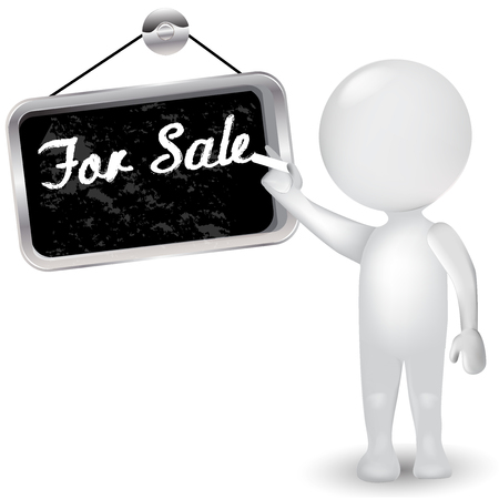 gray: 3d white people man with sign for sale. Business concept icon logo