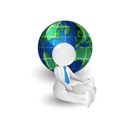 3D white people reading a book with a globe world map background vector image Illustration