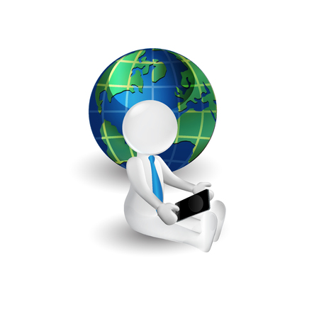 small world: 3d white people man with smartphone. Global business concept icon logo