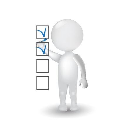3D People white man figure marking ticks in the checklist logo icon
