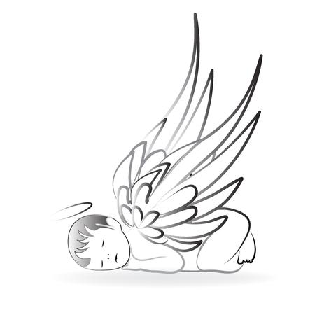 Baby Angel sleeping logo art vector Ilustracja