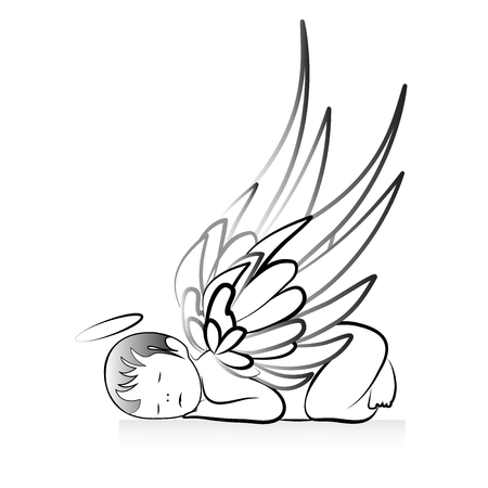 Baby Angel logo art vector
