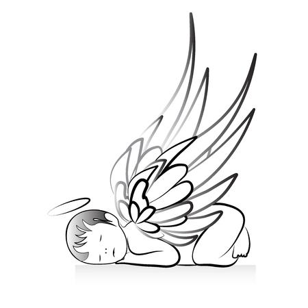 Baby Angel logo art vector
