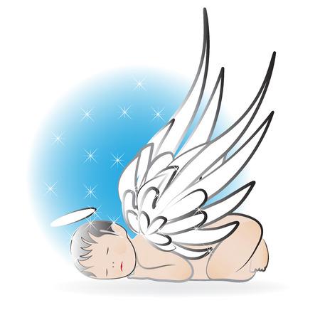 Baby angel sleeping logo icon vector template Stock Illustratie
