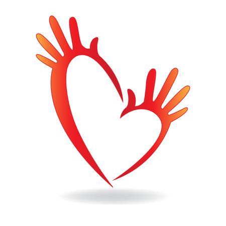 Manos icono de la forma del corazón concepto de ayudar y la caridad para la gente enferma logo vector Vectores