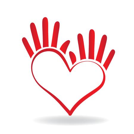 Manos icono de la forma del corazón concepto de ayudar y la caridad para la gente enferma logo vector