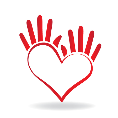 Hands heart shape icon concept of helping and charity for sick people logo vector