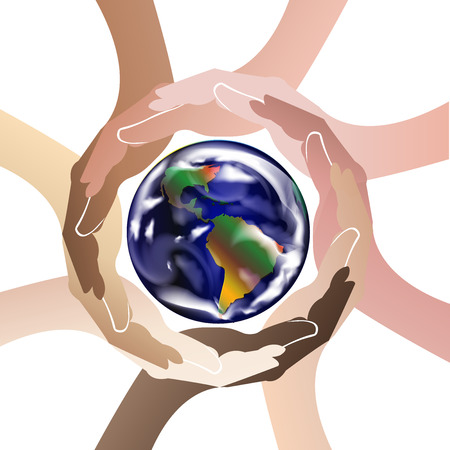 brand identity: Hands protect the world logo icon vector
