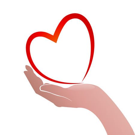 Heart love and hand concept of helping and charity or sick people icon vector
