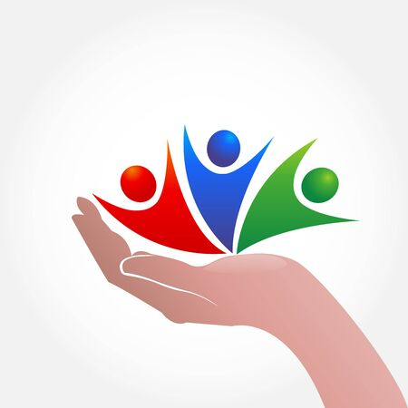 Hand caring people icon logo symbol Illustration