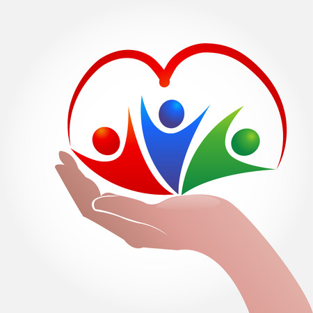 Hand care people with a heart shape logo icon vector