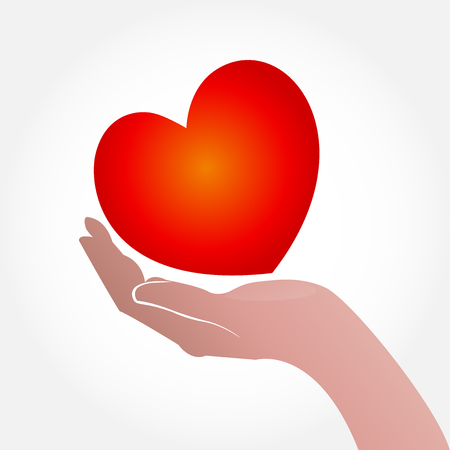 medical drawing: Heart and hand concept of helping and charity or sick people icon vector