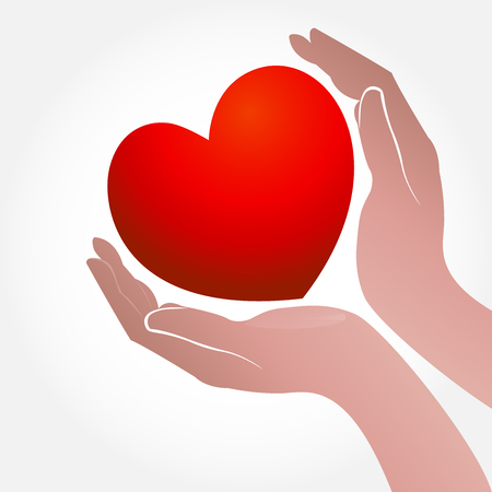 business people: Heart and hand concept of helping and charity or sick people icon vector