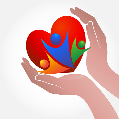 Hands care people with love concept of helping and charity or sick people icon vector
