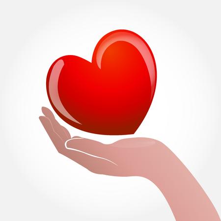 Hand caring a heart icon logo vector desing